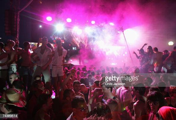 Clubbers dance during the opening matinee at Space nightclub on June 3 2007 in Spain Ibiza The matinee is an all day event and starts at eight in the...