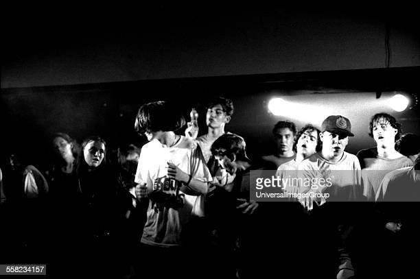Clubbers dance on the main stage of the Hacienda Manchester 1988