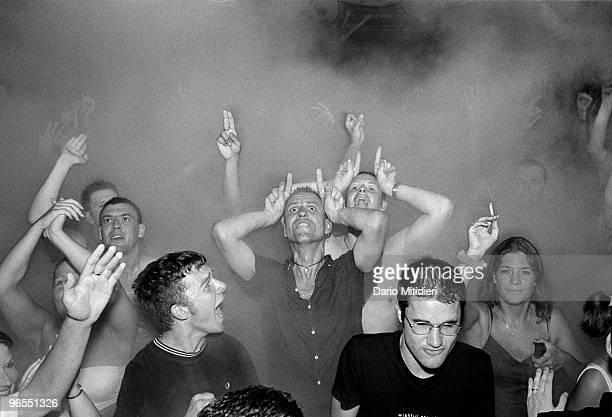 Clubbers dancing during Gods Kitchen party at Amnesia night club in Ibiza Spain on July 20 1999 Established in 1976 Amnesia is the oldest club on the...