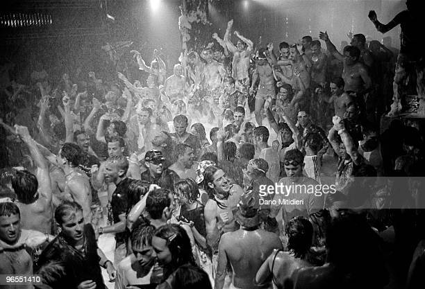 Clubbers enjoying the Foam Party at Amnesia night club on the island of Ibiza on July 18 1999 Established in 1976 Amnesia is the oldest club on the...