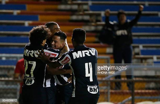 Clube Atletico Mineiro Leonardo Silva celebrates his goal with teammates against FC Schalke 04 during their Florida Cup soccer match on January 13...