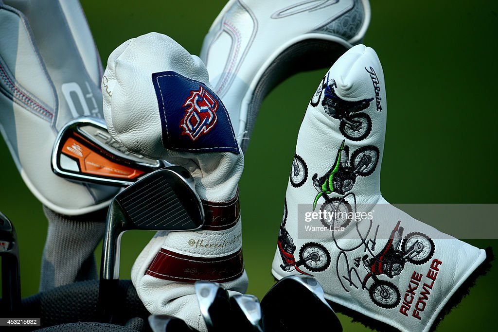 Clubs belonging to Rickie Fowler of the United States are seen during a practice round prior to the start of the 96th PGA Championship at Valhalla...
