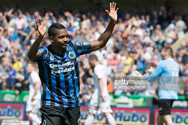 Club's Jose Izquierdo celebrates after scoring the 10 goal during the Jupiler Pro League match between Club Brugge and KV Kortrijk in Brugge on May...