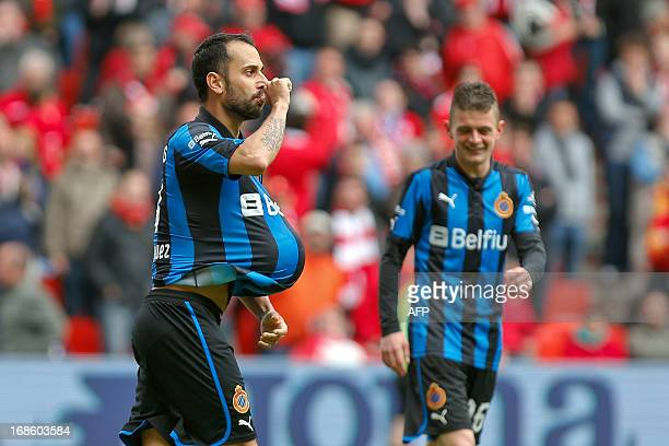 Club's Spanish player Victor Vazquez Solsona celebrates after scoring the 24 goal during during the match between Standard de Liege and Club Brugge...