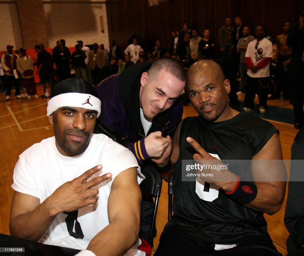DJ Clue Alchemist and DMC during Boost Mobile Brand Jordan Celebrity Showcase April 19 2006 at Gaucho Gym in Bronx New York United States