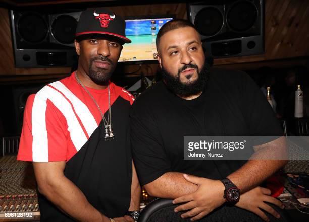 DJ Clue and DJ Khaled attend DJ Khaled's 'Grateful' private listening event at Premier Studios on June 14 2017 in New York City