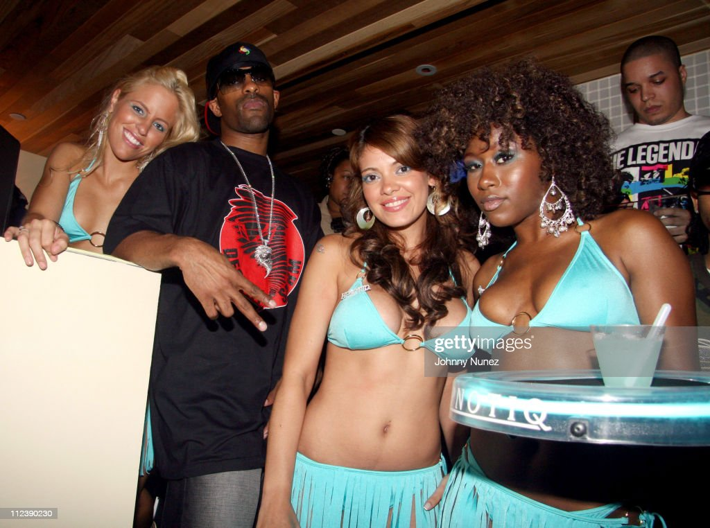 DJ Clue and Hpnotic Models during Power1051 FM and T Mobile SideKick 3 Party July 20 2006 at Hotel QT Pool in New York City New York United States