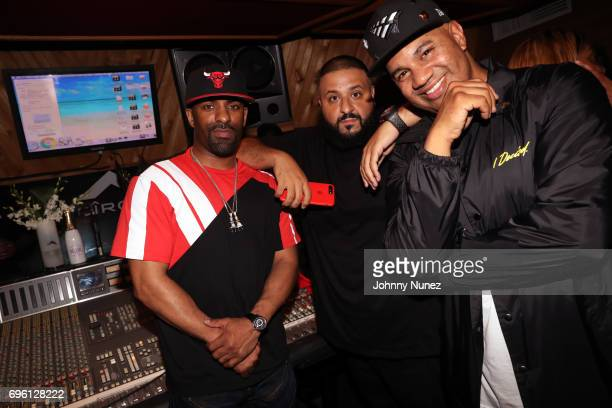 DJ Clue DJ Khaled and Lenny S attend DJ Khaled's 'Grateful' private listening event at Premier Studios on June 14 2017 in New York City