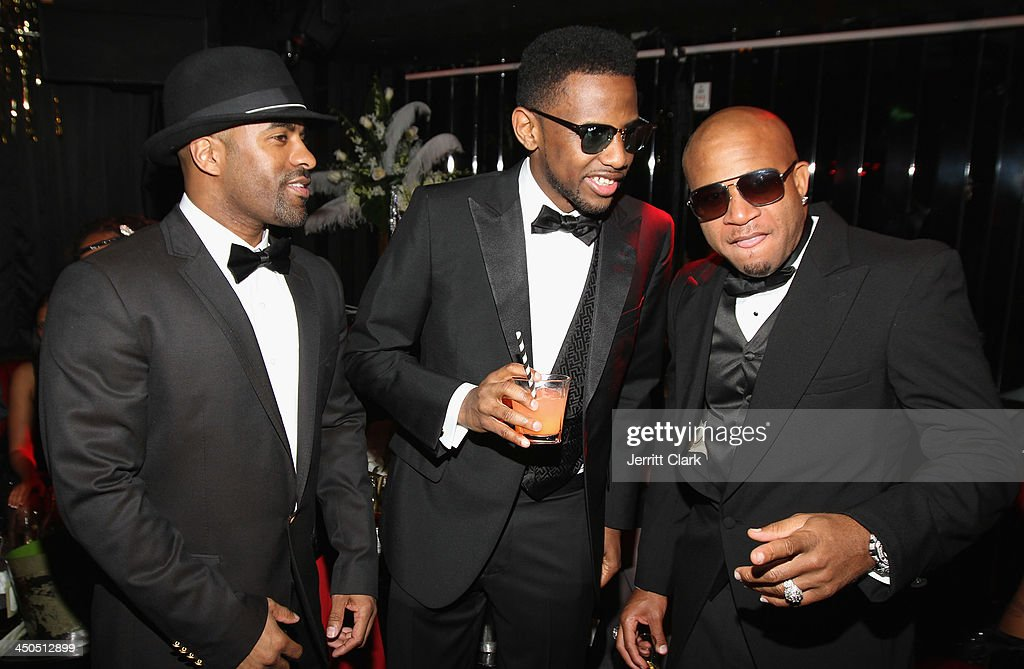 Clue Fabolous and Red Cafe attend Fabolous' The Great Fabsby Birthday Celebration at Jazz Room at the General on November 18 2013 in New York City