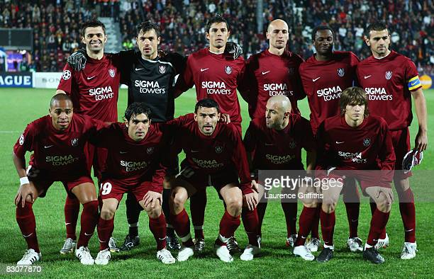 ClujNapoca team line up prior to the UEFA Champions League Group A match between CFR ClujNapoca and Chelsea at the Dr Constantin Radulescu Stadium on...
