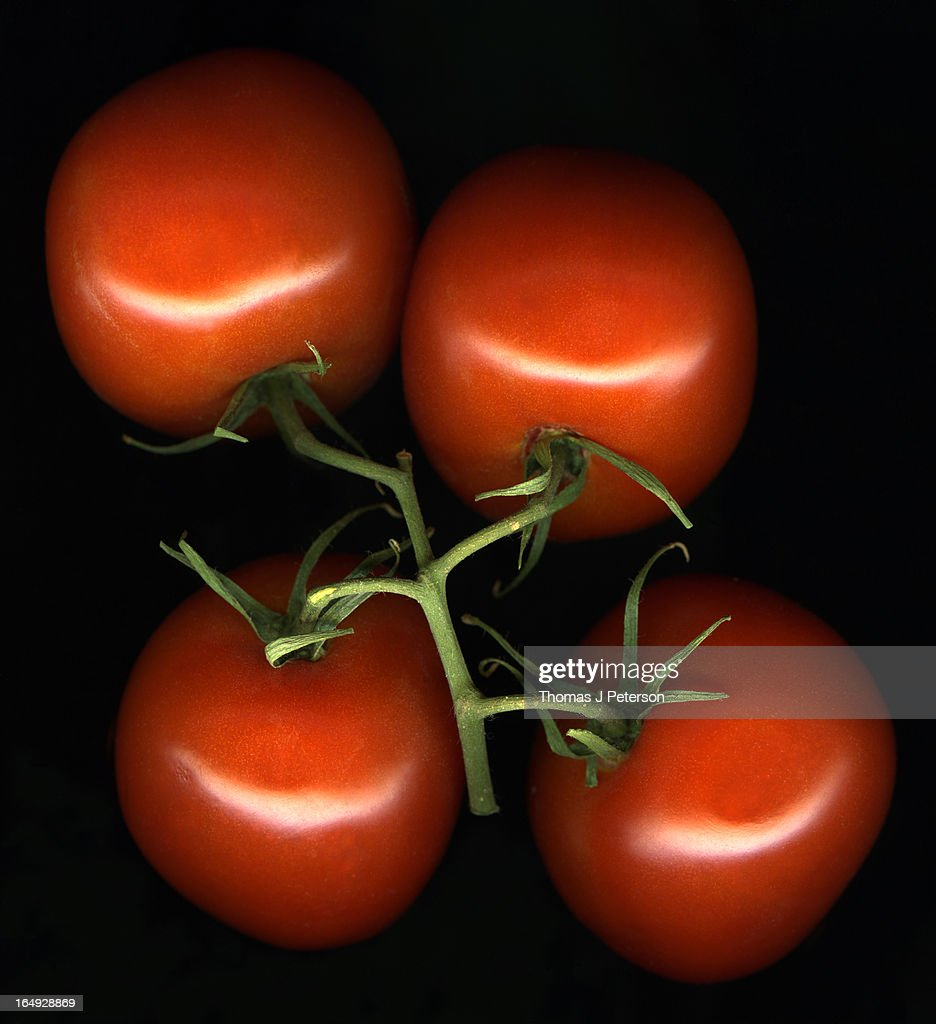 Cluster of red tomatoes on black background : Stock Photo