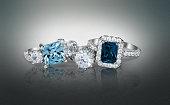Several diamond wedding engagement rings. Fine jewelry.