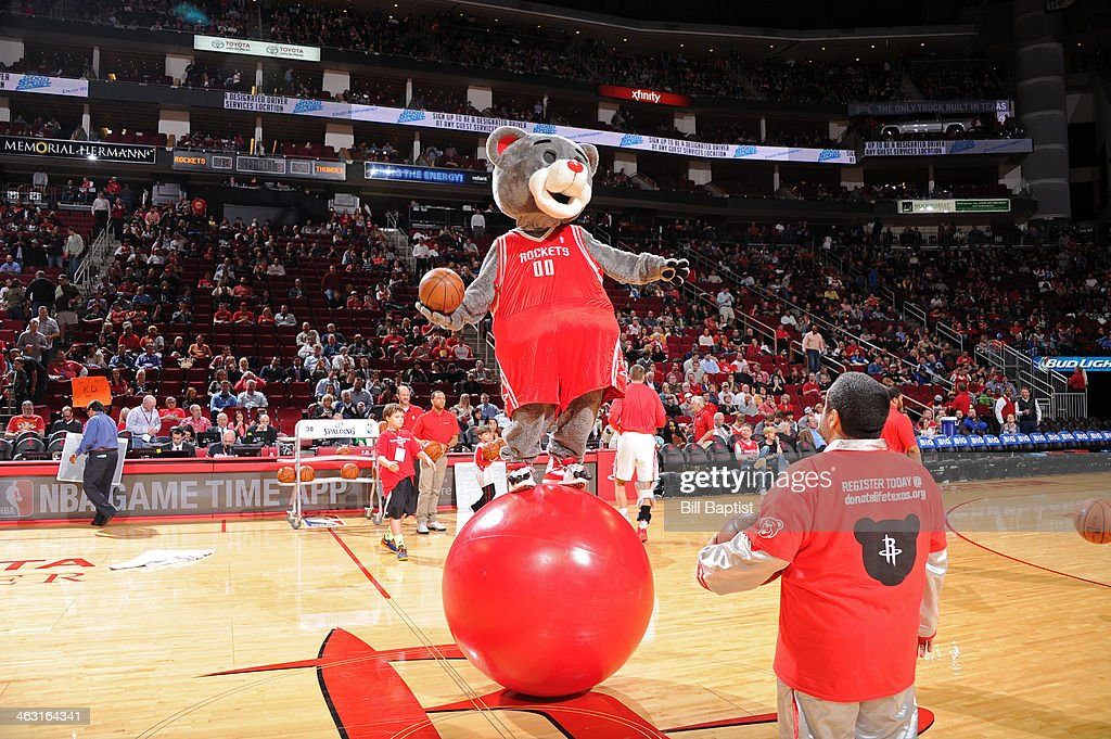 Clutch Mascot of the Houston Rockets performs during the game against the Oklahoma City Thunder on January 16, 2014 at the Toyota Center in Houston, Texas.