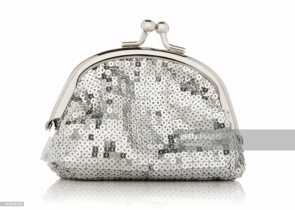 Clutch purse with silver sequins and a metal opening hatch
