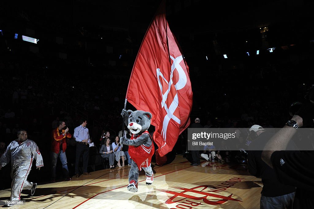 Clutch the Houston Rockets mascot announced during pregame of the Miami Heat on November 12, 2012 at the Toyota Center in Houston, Texas.