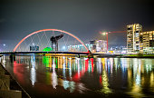 Night View of the Clyde Arc and the Skyline of Glasgow