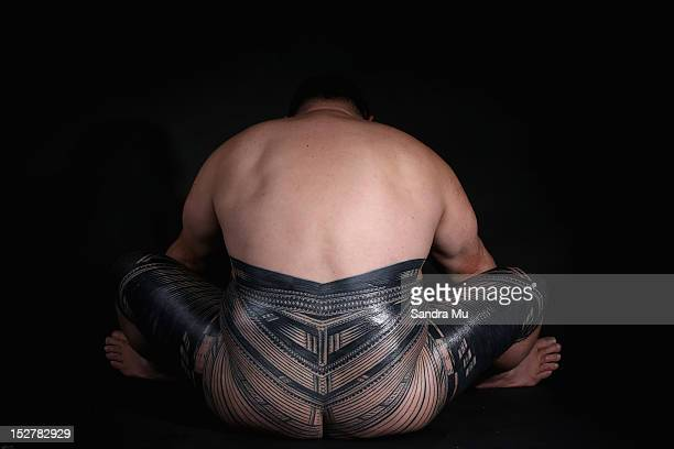 Clyde Cowley displays his pe'a a traditional Samoan tattoo during a photoshoot on September 26 2012 in Auckland New Zealand The pe'a covers the body...