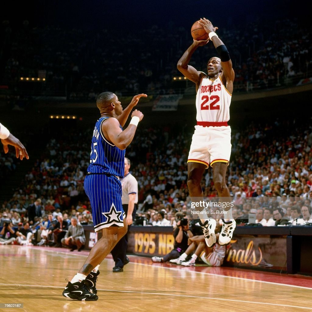 Ho houston rockets nba championship - Clyde Drexler 22 Of The Houston Rockets Attempts A Shot Against Nick Anderson 25