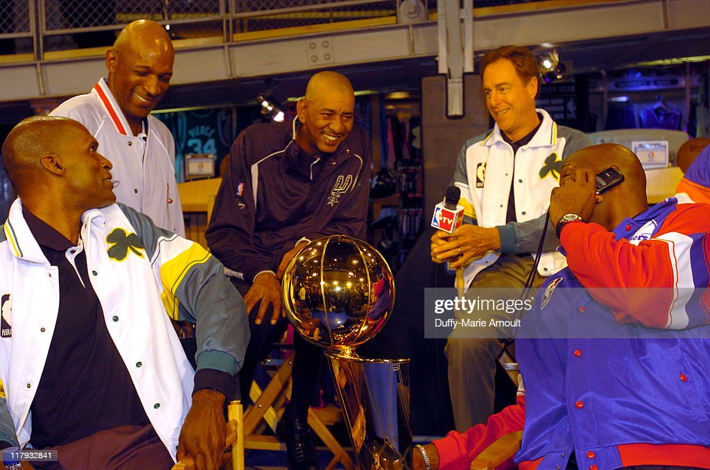 Clyde Drexler Robert Parish George Gervin David Cowens and Moses Malonewith the 2005 Larry O'Brien NBA
