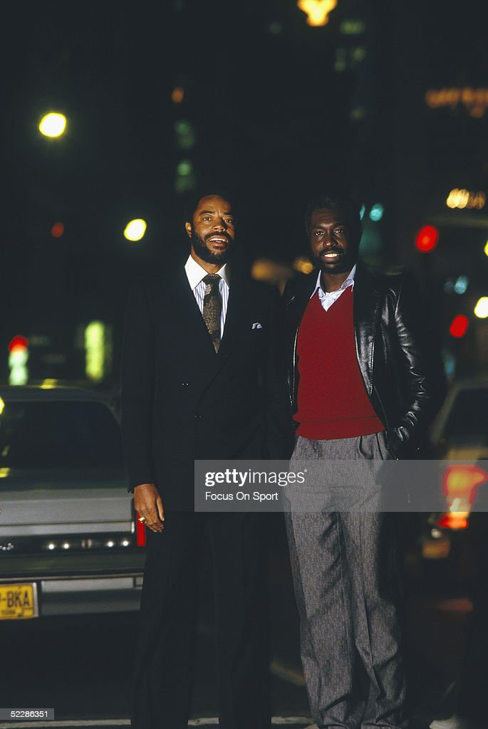 Clyde Frazier and Earl Monroe of the New York Knicks stand for a photo circa 1970's in New York New York