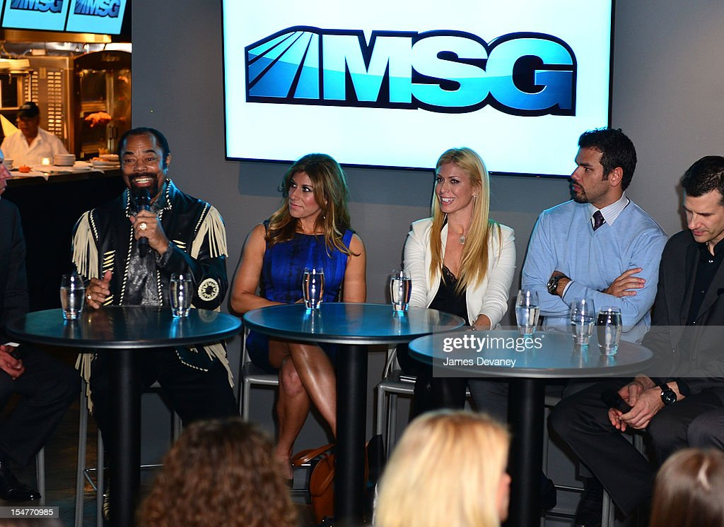 Clyde Frazier, Tina Cervasio, Jill Martin and Spero Dedes attend MSG Network's 'Knicks Season Roundtable' at Clyde Frazier's Wine and Dine on October 25, 2012 in New York City.