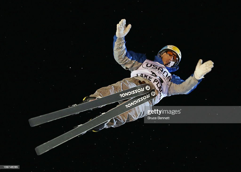 Clyde Getty #32 of Argentina jumps in the USANA Freestyle World Cup aerial competition at the Lake Placid Olympic Jumping Complex on January 19, 2013 in Lake Placid, New York.