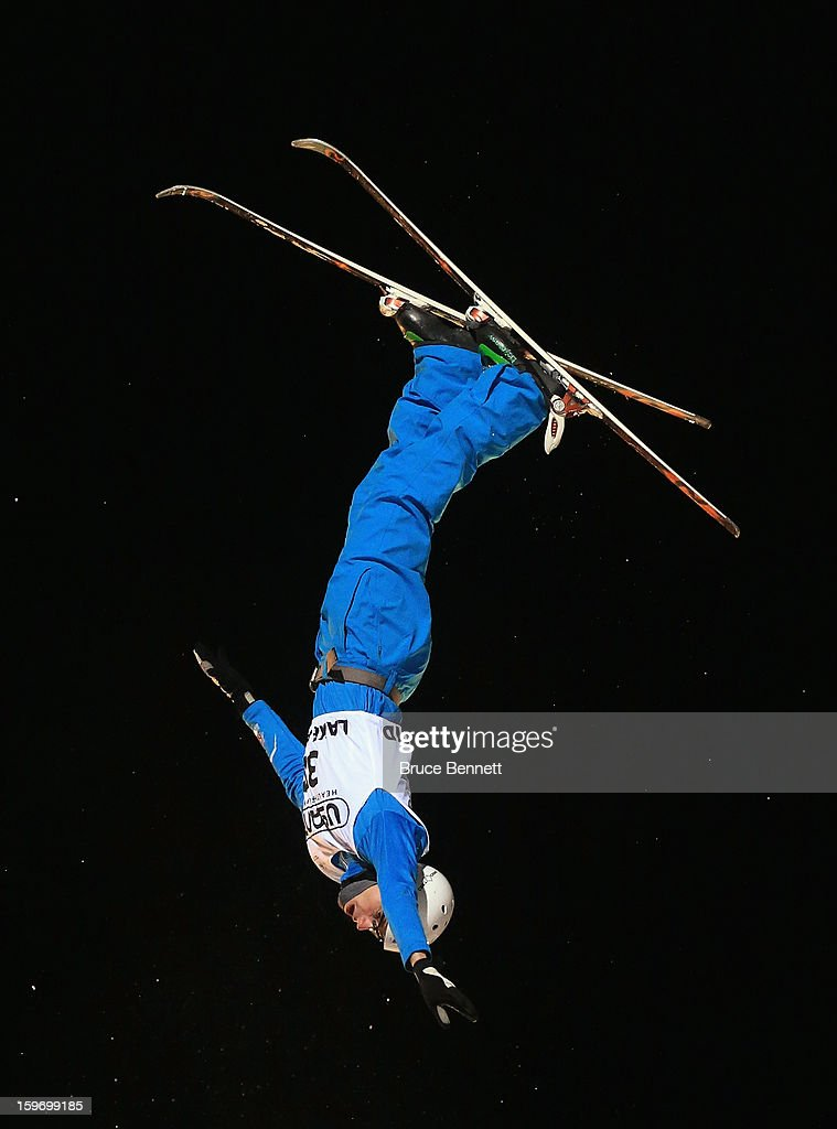 Clyde Getty #28 of Great Britain competes in the qualification round of the USANA Freestyle World Cup aerial competition at the Lake Placid Olympic Jumping Complex on January 18, 2013 in Lake Placid, New York.