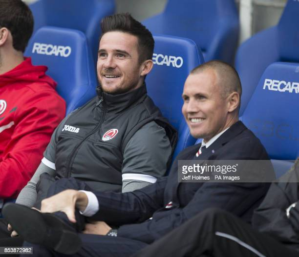 Clyde manager Barry Ferguson and former team mate Kenny Miller during the Petrofac Training Cup Second Round match at Ibrox Stadium Glasgow