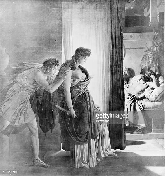 Clytemnestra the Queen of Mycenae kills her husband Agamemnon the King