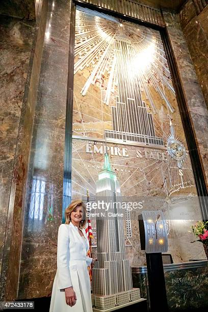 Co founder/editorin chief of The Huffington Post Arianna Huffington lights The Empire State Building in celebration of The Huffington Post's 10 year...