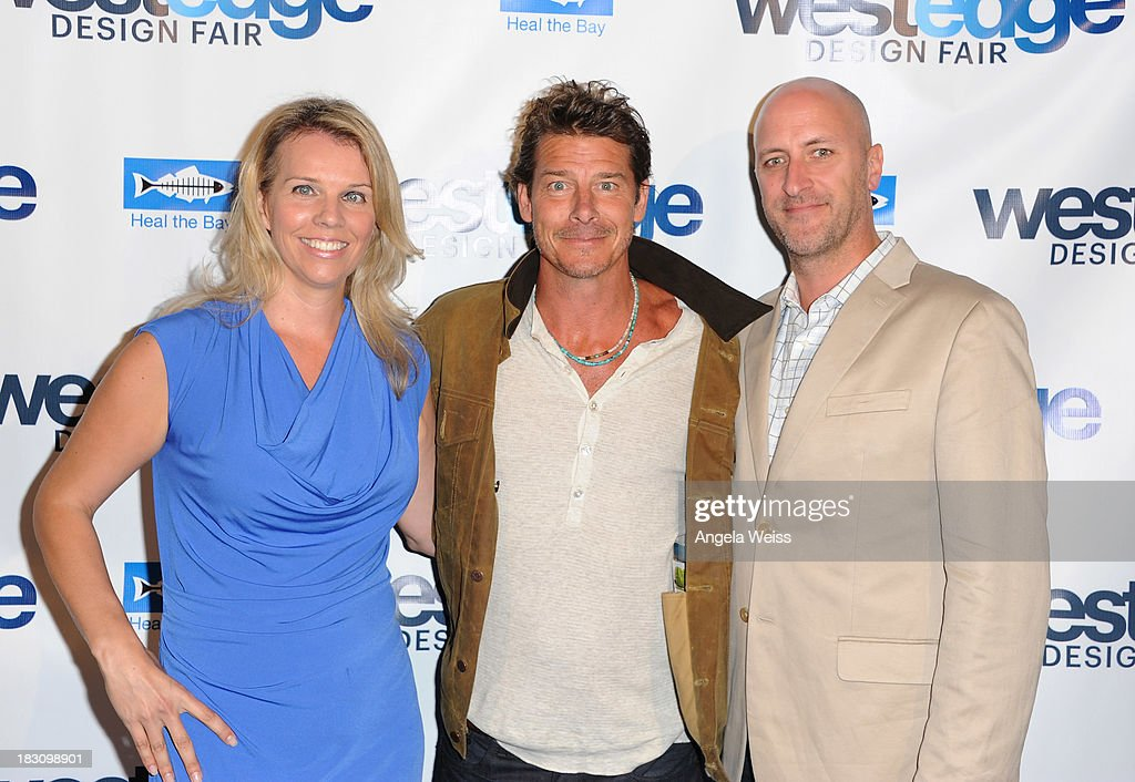 Co Founders WestEdge Design Fair Megan Reilly and Troy Hanson with TV host <a gi-track='captionPersonalityLinkClicked' href=/galleries/search?phrase=Ty+Pennington&family=editorial&specificpeople=241576 ng-click='$event.stopPropagation()'>Ty Pennington</a> (C) attend the WestEdge Design Fair opening night benefiting Heal the Bay at Barker Hangar on October 3, 2013 in Santa Monica, California.