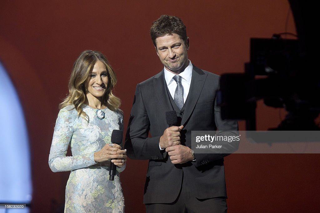 Co Hosts Sarah Jessica Parker, and Gerard Butler, at the Nobel Peace Prize concert, at Oslo Spektrum on December 11, 2012 in Oslo, Norway.