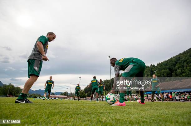 Co Trainer Frank Geideck and Denis Zakaria during a training session at the Training Camp of Borussia Moenchengladbach on July 18 2017 in...