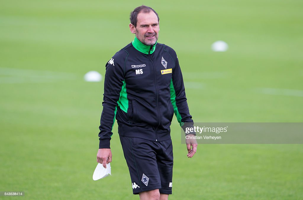 Co- Trainer Manfred Stefes of Borussia Moenchengladbach during a training session at Borussia-Park on June 29, 2016 in Moenchengladbach, Germany.