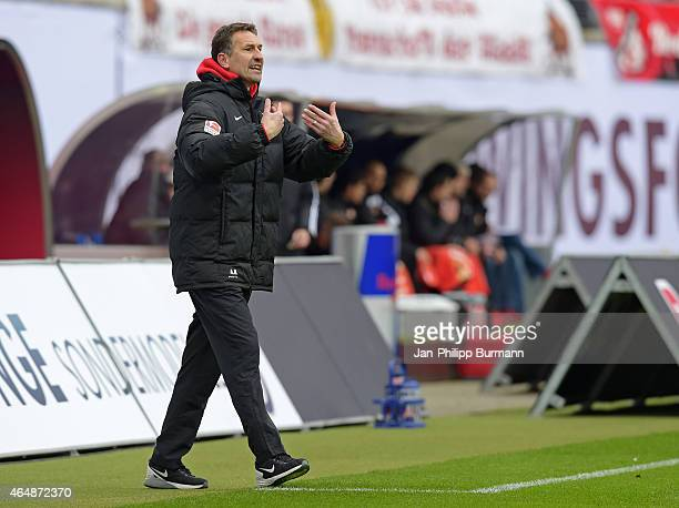 Coach Achim Beierlorzer of RB Leipzig gestures during the game between RB Leipzig and 1 FC Union Berlin on March 1 2015 in Leipzig Germany