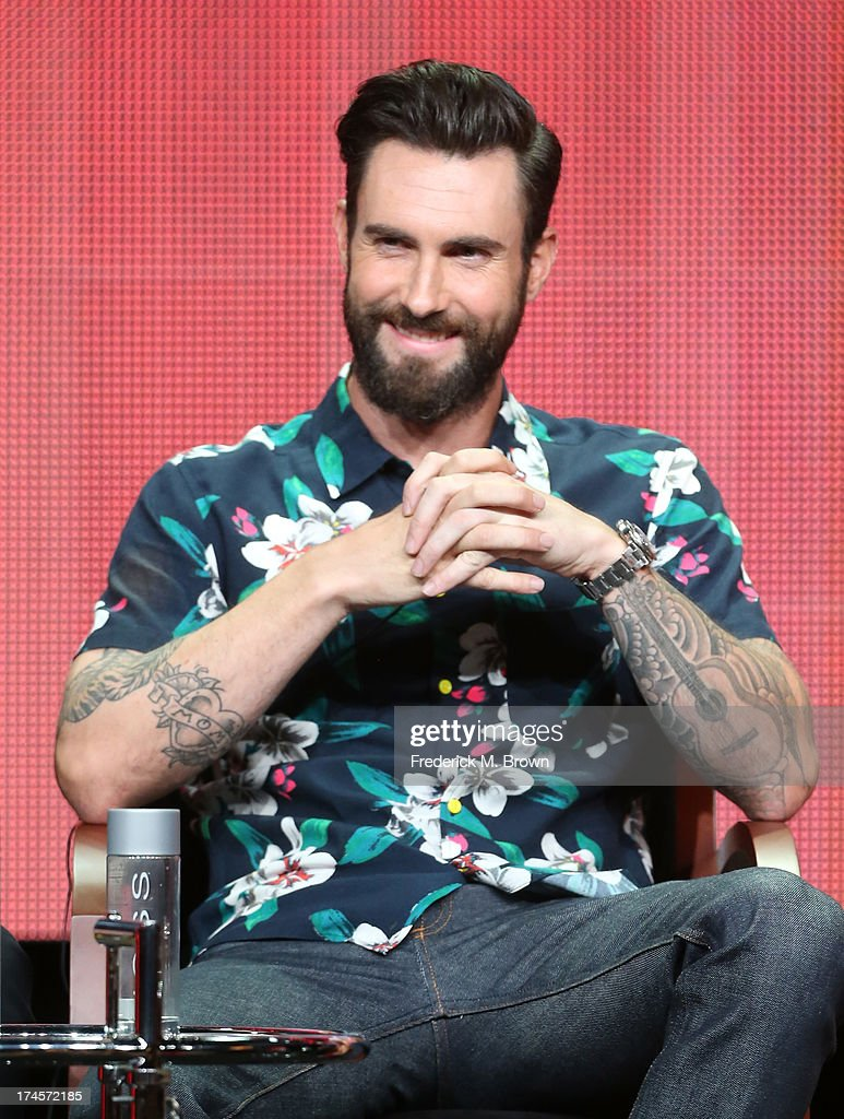 Coach <a gi-track='captionPersonalityLinkClicked' href=/galleries/search?phrase=Adam+Levine+-+Singer&family=editorial&specificpeople=202962 ng-click='$event.stopPropagation()'>Adam Levine</a> speaks onstage during 'The Voice' panel discussion at the NBC portion of the 2013 Summer Television Critics Association tour - Day 4 at the Beverly Hilton Hotel on July 27, 2013 in Beverly Hills, California.