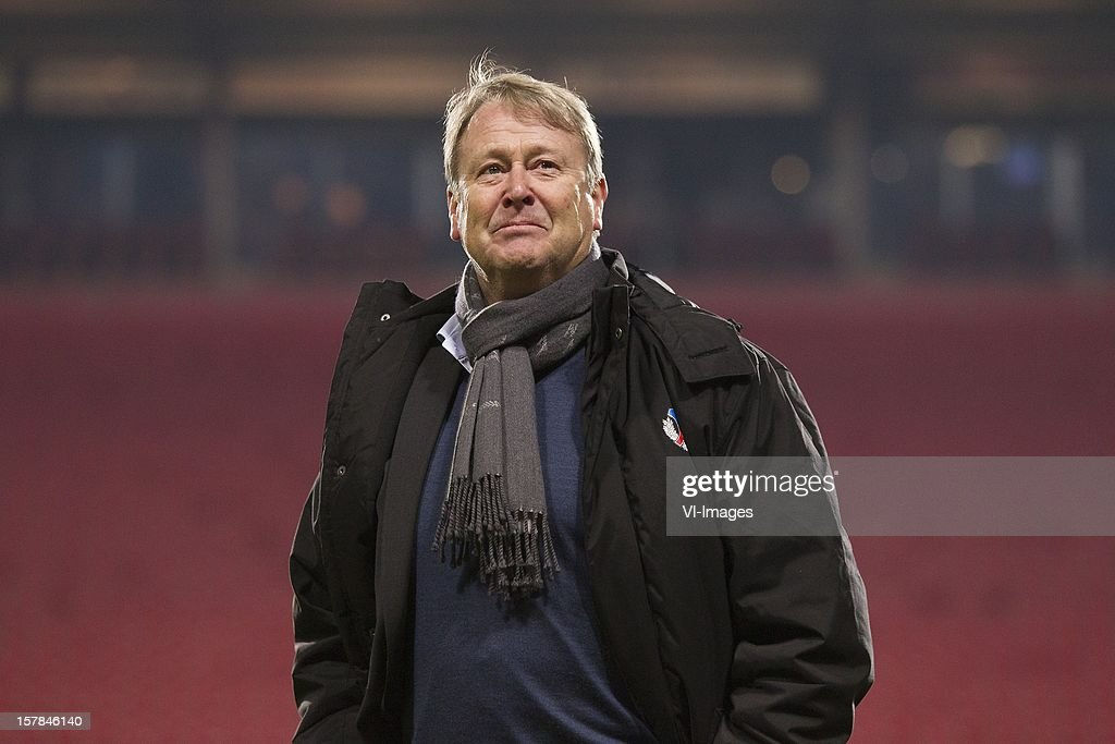 Coach Age Hareide of Helsingborgs IF during the Europa League match between FC Twente and Helsingborgs IF at the Grolsch Veste on December 6, 2012 in Enschede, The Netherlands.