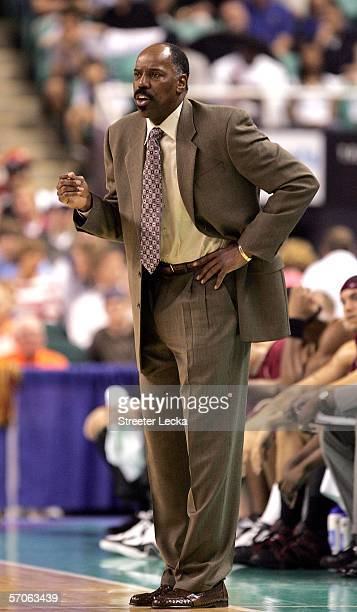 Coach Al Skinner of the Boston College Eagles calls a play against the Duke Blue Devils during the finals of the Atlantic Coast Conference Men's...