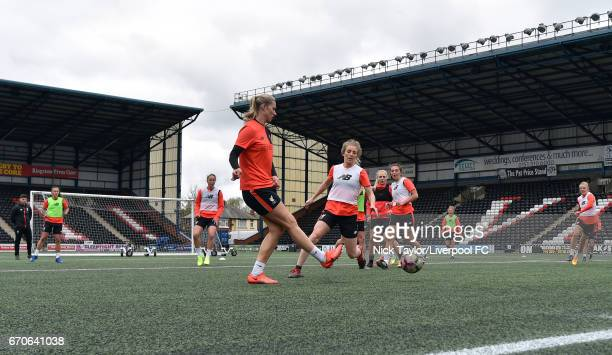 Coach Alan Jordan Natasha Harding Casey Stoney Gemma Bonner Kate Longhurst Alex Greenwood Katie Zelem Laura Coombs and Sophie Ingle of Liverpool...