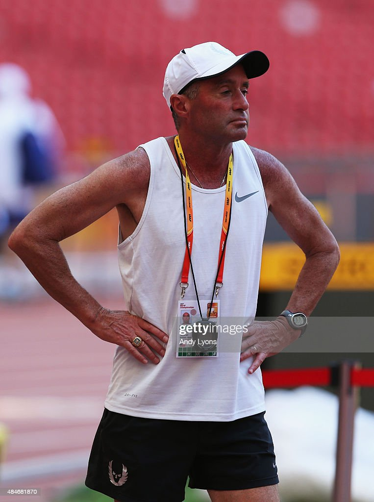Coach <a gi-track='captionPersonalityLinkClicked' href=/galleries/search?phrase=Alberto+Salazar&family=editorial&specificpeople=3459884 ng-click='$event.stopPropagation()'>Alberto Salazar</a> looks on during a practice session ahead of the 15th IAAF World Athletics Championships Beijing 2015 at the Beijing National Stadium on August 21, 2015 in Beijing, China.