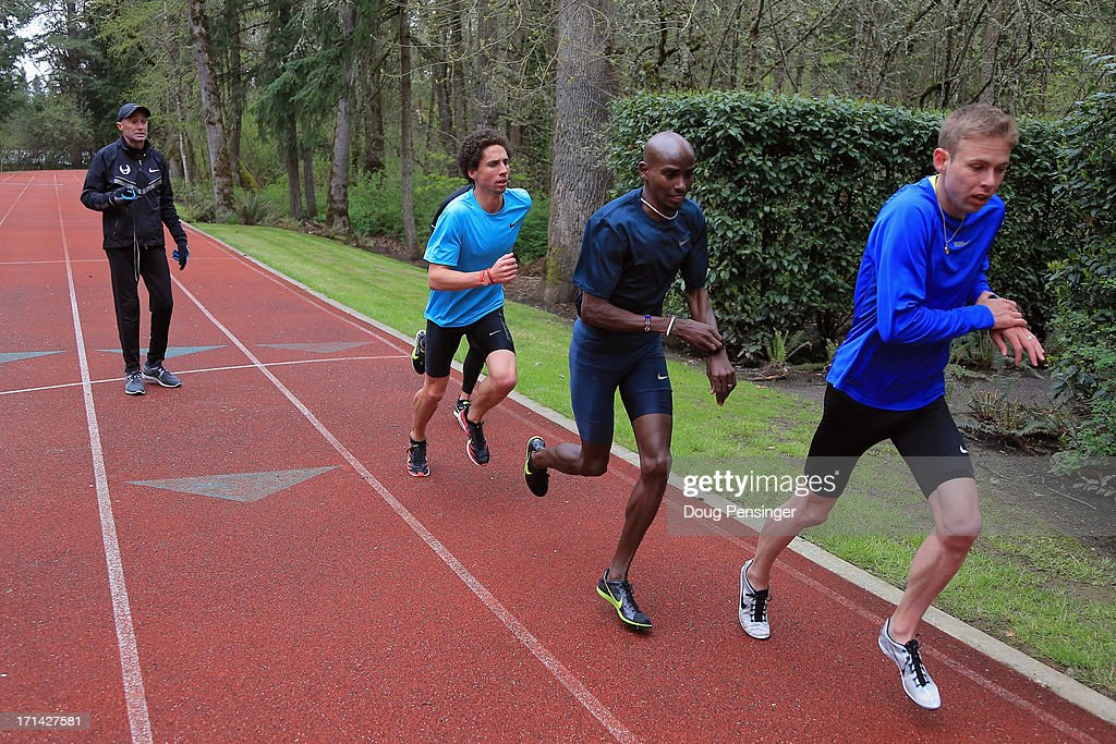 Coach <a gi-track='captionPersonalityLinkClicked' href=/galleries/search?phrase=Alberto+Salazar&family=editorial&specificpeople=3459884 ng-click='$event.stopPropagation()'>Alberto Salazar</a> of the Nike Oregon Project directs athletes Cam Levins of the Canada, <a gi-track='captionPersonalityLinkClicked' href=/galleries/search?phrase=Mo+Farah&family=editorial&specificpeople=4819130 ng-click='$event.stopPropagation()'>Mo Farah</a> of Great Britain and <a gi-track='captionPersonalityLinkClicked' href=/galleries/search?phrase=Galen+Rupp&family=editorial&specificpeople=4076972 ng-click='$event.stopPropagation()'>Galen Rupp</a> of the USA as they train on the track at the Nike campus on April 13, 2013 in Beaverton, Oregon.