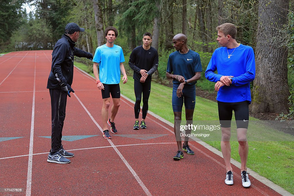 Coach <a gi-track='captionPersonalityLinkClicked' href=/galleries/search?phrase=Alberto+Salazar&family=editorial&specificpeople=3459884 ng-click='$event.stopPropagation()'>Alberto Salazar</a> of the Nike Oregon Project directs athletes Cam Levins of the Canada, <a gi-track='captionPersonalityLinkClicked' href=/galleries/search?phrase=Matthew+Centrowitz&family=editorial&specificpeople=7293929 ng-click='$event.stopPropagation()'>Matthew Centrowitz</a> of the USA, <a gi-track='captionPersonalityLinkClicked' href=/galleries/search?phrase=Mo+Farah&family=editorial&specificpeople=4819130 ng-click='$event.stopPropagation()'>Mo Farah</a> of Great Britain and <a gi-track='captionPersonalityLinkClicked' href=/galleries/search?phrase=Galen+Rupp&family=editorial&specificpeople=4076972 ng-click='$event.stopPropagation()'>Galen Rupp</a> of the USA as they train on the track at the Nike campus on April 13, 2013 in Beaverton, Oregon.