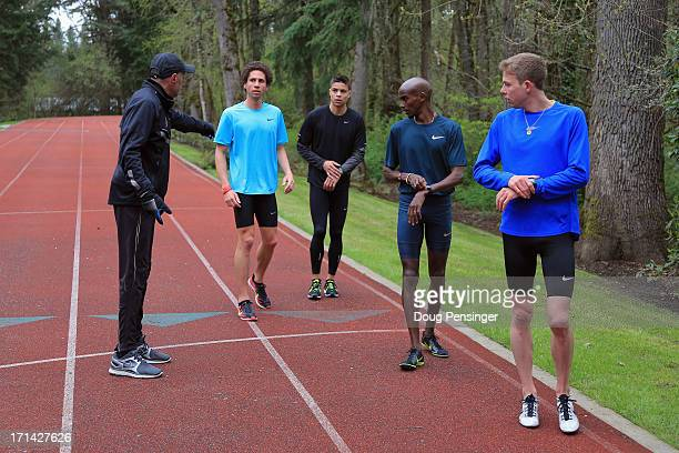 Coach Alberto Salazar of the Nike Oregon Project directs athletes Cam Levins of the Canada Matthew Centrowitz of the USA Mo Farah of Great Britain...