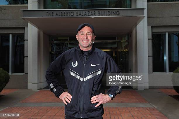 Coach Alberto Salazar of the Nike Oregon Project poses for a portrait in front the of the building named after him on the Nike campus on April 13...