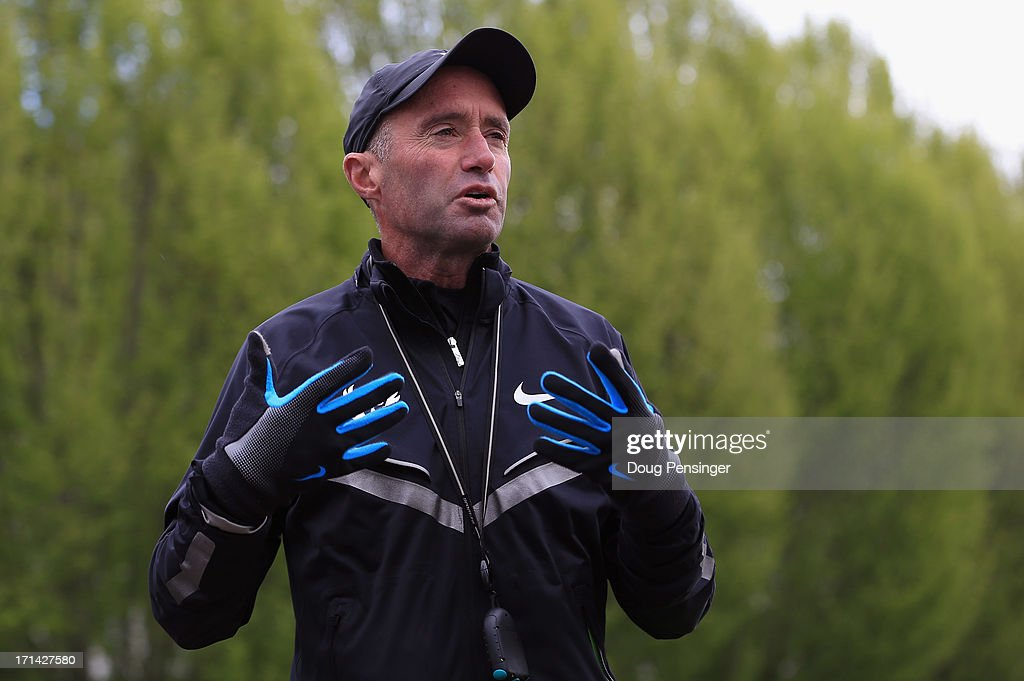 Coach <a gi-track='captionPersonalityLinkClicked' href=/galleries/search?phrase=Alberto+Salazar&family=editorial&specificpeople=3459884 ng-click='$event.stopPropagation()'>Alberto Salazar</a> talks about the Nike's Oregon Project on the Nike campus on April 13, 2013 in Beaverton, Oregon.