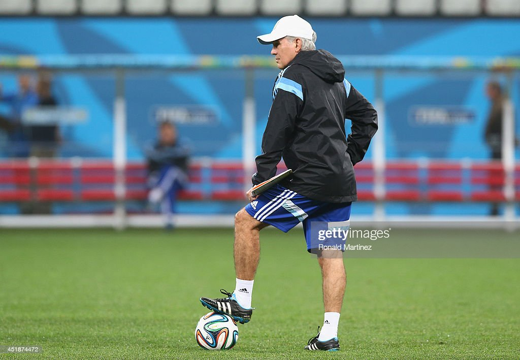 Coach <a gi-track='captionPersonalityLinkClicked' href=/galleries/search?phrase=Alejandro+Sabella&family=editorial&specificpeople=5768060 ng-click='$event.stopPropagation()'>Alejandro Sabella</a> of Argentina during a training session at Arena de Sao Paulo on July 8, 2014 in Sao Paulo, Brazil.