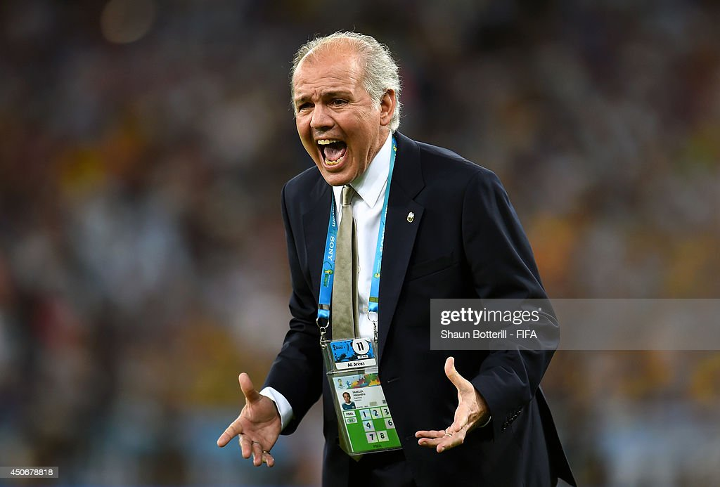 Coach <a gi-track='captionPersonalityLinkClicked' href=/galleries/search?phrase=Alejandro+Sabella&family=editorial&specificpeople=5768060 ng-click='$event.stopPropagation()'>Alejandro Sabella</a> of Argentina reacts during the 2014 FIFA World Cup Brazil Group F match between Argentina and Bosnia-Herzegovina at Maracana on June 15, 2014 in Rio de Janeiro, Brazil.