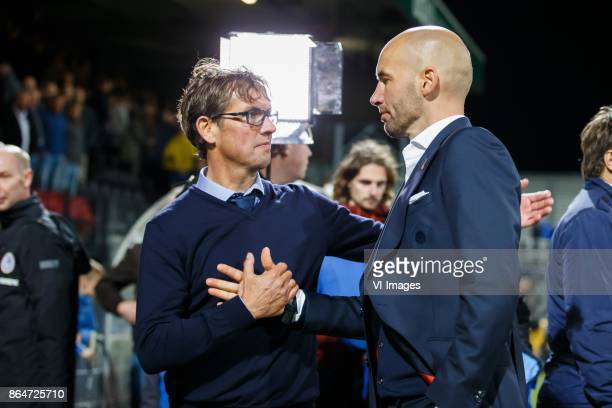 coach Alex Pastoor of Sparta Rotterdam coach Mitchell van der Gaag of Excelsior during the Dutch Eredivisie match between sbv Excelsior Rotterdam and...