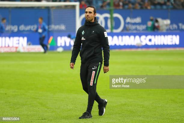 Coach Alexander Nouri of Bremen before the Bundesliga match between Hamburger SV and SV Werder Bremen at Volksparkstadion on September 30 2017 in...