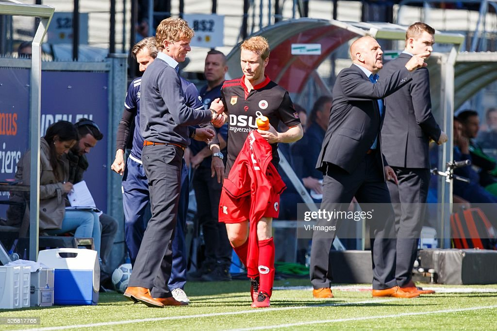 coach Alfons Fons Groenendijk of Excelsior, Rick Kruys of Excelsior wordt gewisseld in laatste thuiswedstrijd in zijn loopbaan during the Dutch Eredivisie match between Excelsior Rotterdam and PEC Zwolle at Woudenstein stadium on May 01, 2016 in Rotterdam, The Netherlands